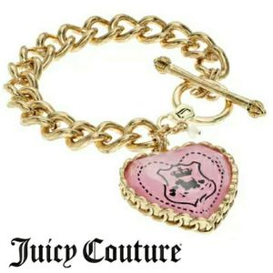 NWT Juicy Couture Pink Heart Charm Toggle Bracelet